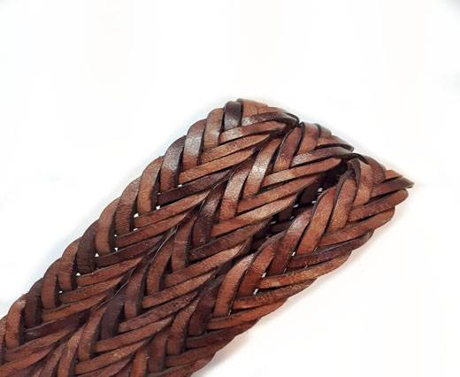 Thick Oval Hollow braided Cord - Vintage cognac - 11mm by 6mm