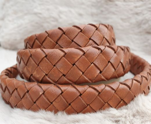 Oval Braided Leather Cord-19mm-Vintage cognac