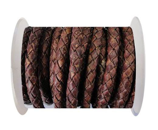 Round Braided Leather Cord SE/PB/Vintage Copper - 6mm