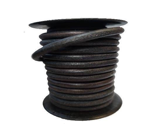 Round leather Cords - 8mm - Vintage Dark Blue