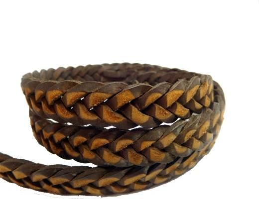 Flat braided cord - 14mm by 4mm -Vintage Dark Brown