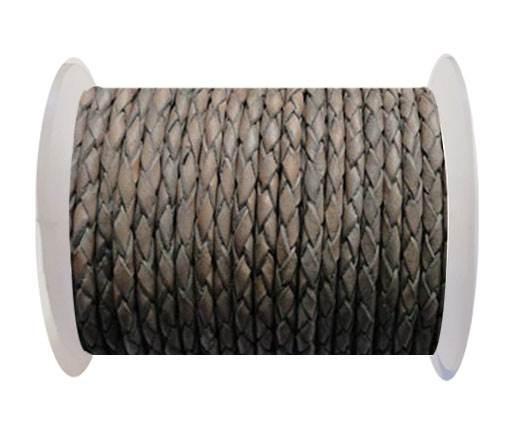 Round Braided Leather Cord SE/PB/Vintage Grey - 6mm