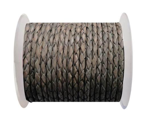 Round Braided Leather Cord SE/PB/Vintage Grey - 3mm