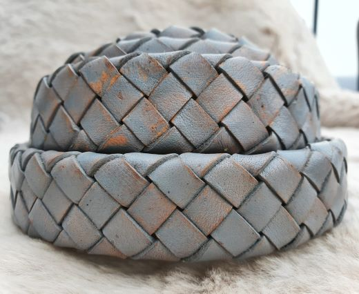 Oval Braided Leather Cord-19mm-Vintage grey