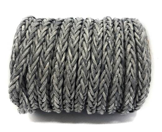 Square Braided Bolo Leather Cords-6mm-Vintage Grey