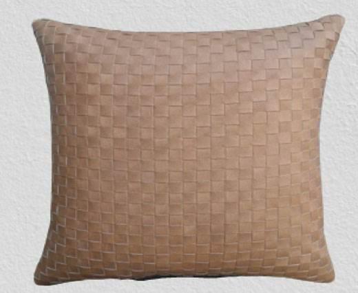 Rectangular Cushion - Vintage leather cushion - Braided  Style