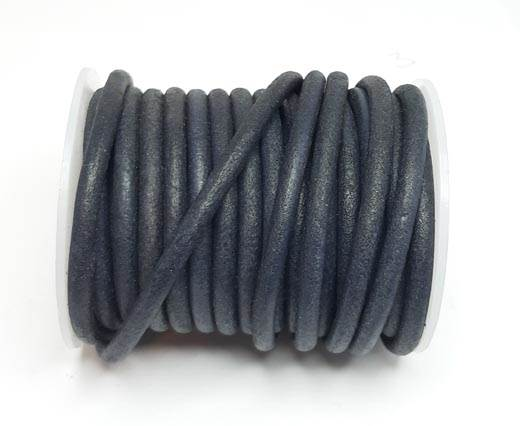Round Leather Cords - 5mm - Vintage Navy Blue