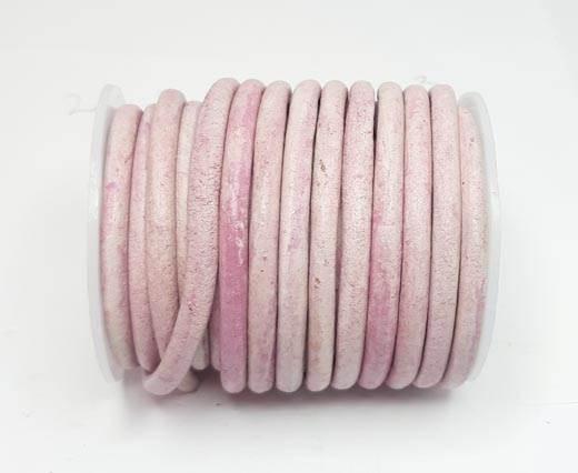 Round Leather Cords - 5mm - Vintage Pink (V_034)