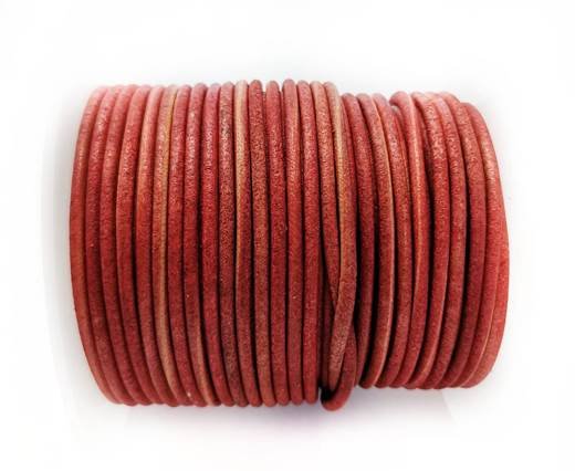 Round leather cord-2mm- Vintage MID RED