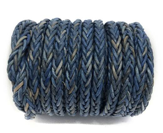 Square Braided Bolo Leather Cords-6mm-Vintage Royale Blue