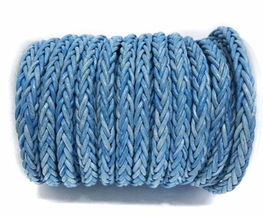 Square Braided Bolo Leather Cords-6mm-Vintage Sky Blue