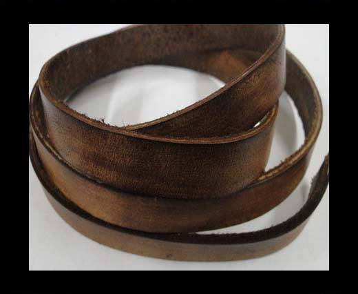 Vintage Style Flat Leather - 14mm-medium brown