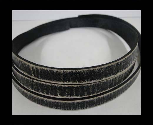 Vintage Style Flat Leather - 10mm-black stripes