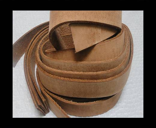Vintage Style Flat Leather - 14mm-Vintage Light Brown