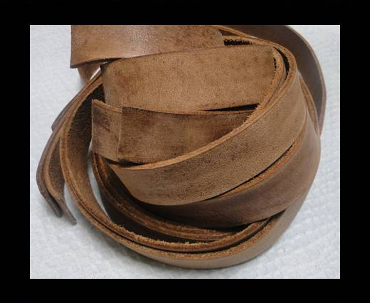 Vintage Style Flat Leather - 20mm-Vintage Dark Brown