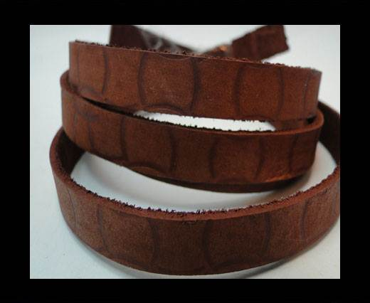 Vintage Style Flat Leather - 10mm-Tan with design