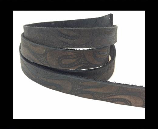 Vintage Style Flat Leather - 10mm-Black  with design
