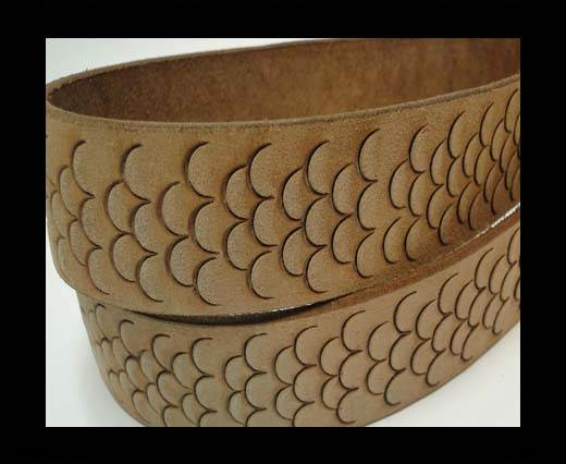 Vintage Style Flat Leather-Fish Style-30mm-Light Brown
