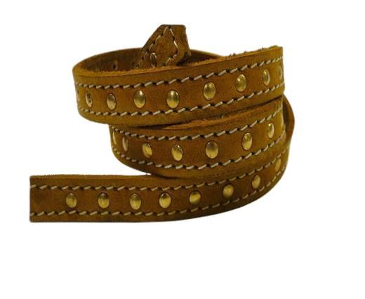 Vintage Style Flat Leather Studs-Gold-14mm-Saddle