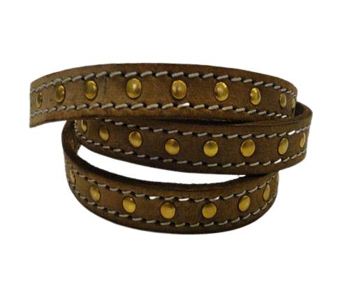 Real Vegetable Tanned Leather with stitch -14mm-Brown