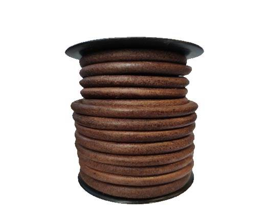 Round leather Cords - 8mm - Vintage Tan