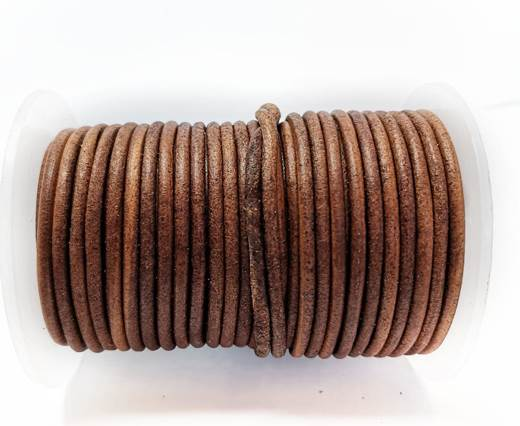 Round Leather cords  2,5mm - Vintage Tan