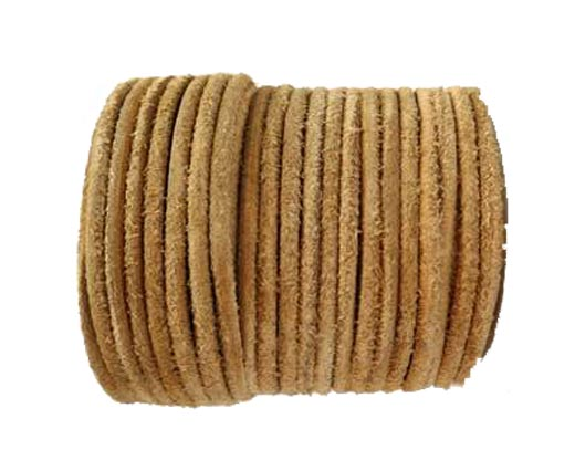 Round Hairy Leather -3mm-Vintage Taupe