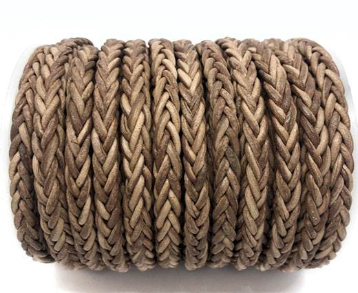 Square Braided Bolo Leather Cords-6mm-Vintage Taupe