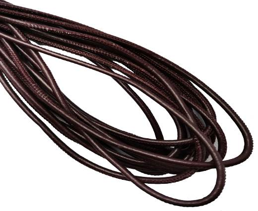 Round Stitched Leather Cord - 3mm - VIOLET