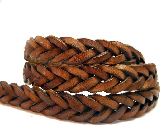 Flat braided cord - 14mm by 4mm -Vintage Water Brown