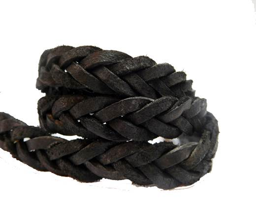 Flat braided cord - 14mm by 4mm -Vintage Waxi Black