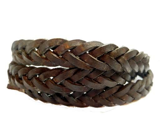 Flat braided cord - 14mm by 4mm -Vintage Waxi Dark Brown