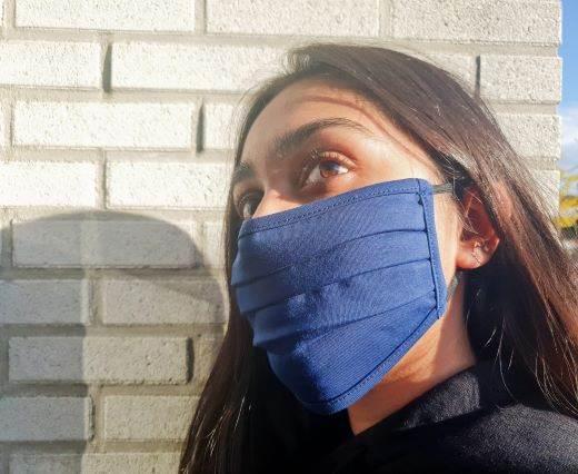 Mix washable cotton facemask - Dark Blue