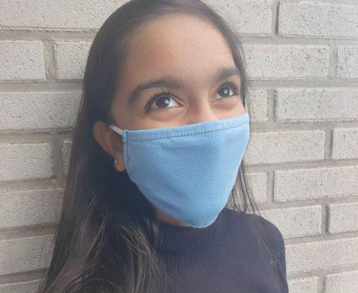 Mix washable cotton facemask - Sky Blue