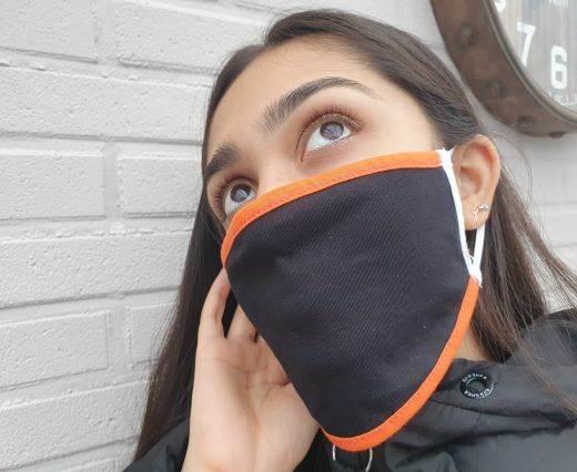 Mix washable cotton facemask - Black - Orange