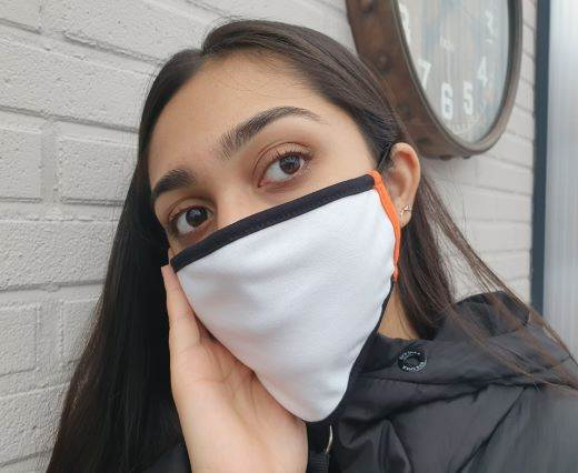 Mix washable cotton facemask - White-Black