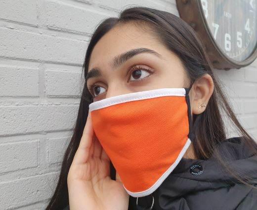 Mix washable cotton facemask - Orange-white