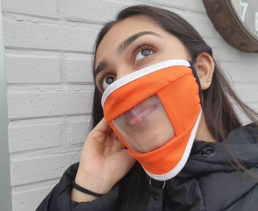 Hearing Imparied-Washable-Cotton-FaceMask-Orange
