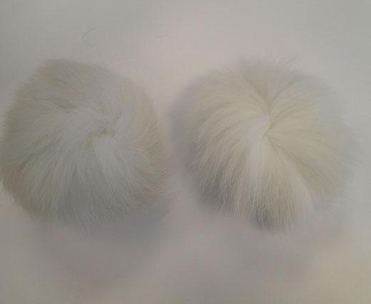 Fox Fur Pom Pom-White-10cms