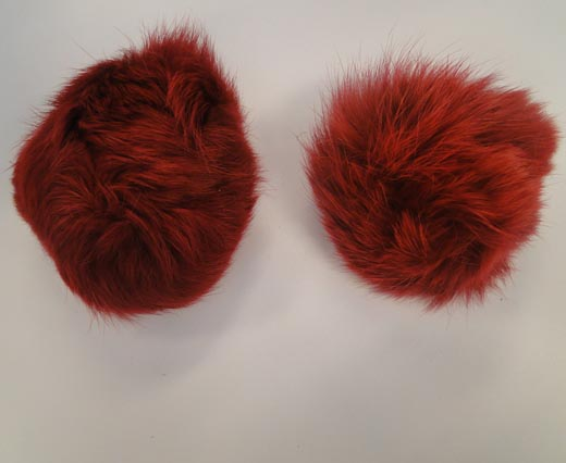 Rabbit Fur Pom Pom-Wine Red-7cms