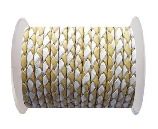 Round Braided Leather Cord SE/B/28-Yellow-White - 6mm