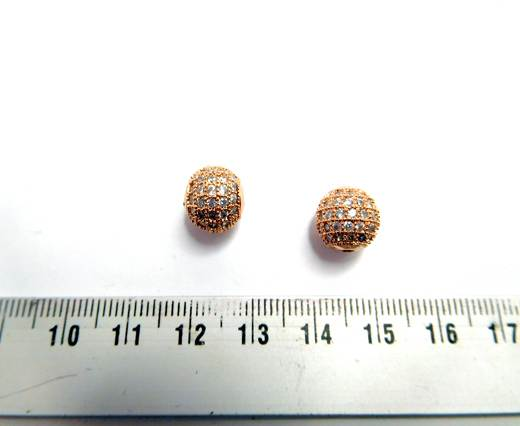 Zircon Beads - 3 - Rose Gold + crystal