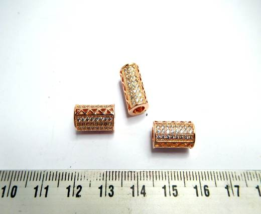 Zircon Beads - 8 - Rose Gold + crystal