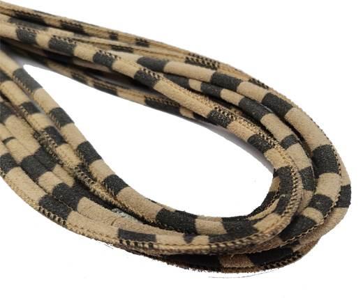 Round Stitched Nappa Leather Cord-4mm-zebra light print